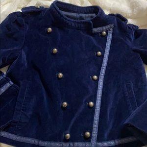 Annie blue velvet military style jacket w/silver